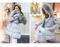 Women big collar coat - 2015 winter woment coat big size jacket luxury large raccoon fur collar white duck down Middle length XS to XL YH255