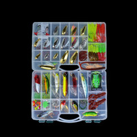 Wholesale 2014 New Artificial Fishing Lure Set Hard Soft Bait Minnow Spoon Jig Hook Two layer Fishing Tackle Box