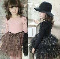 Wholesale Dresses for Girls Children Dresses Christmas Kids Clothes Cotton Party Dresses Baby Kids Clothing Long sleeve Patchwork Princess Dresses