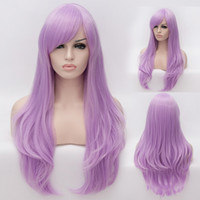 Cheap Free Shipping!! New Fashion Women Hair Wigs Heat Resistant Light Purple Long Curly Synthetic Cosplay Party Wig 75cm
