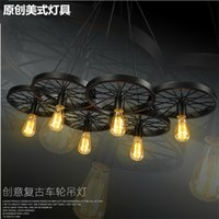bicycle light bulbs - Loft retro Iron light Bicycle Wheels pendant lights Vintage ceiling lamp E27 Vintage Light Bulb ST64 Edison Bulb pendant light Droplight