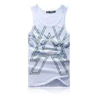 Wholesale Fall New fashion summer men s white print pattem vest male personality casual cotton vest colors size free