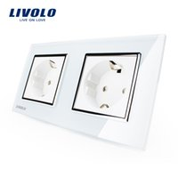 Wholesale Livolo EU Standard Wall Power Socket White Crystal Glass Panel Manufacturer of A Wall Outlet VL C7C2EU