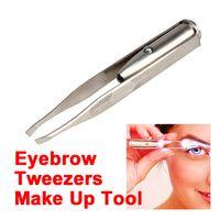 Wholesale Stainless Steel Make Up Tool LED Light Eyelash Eyebrow Hair Removal Tweezer