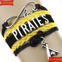 baseball cuff bracelets - Infinity Love PIRATES baseball Sports Team Bracelet Black Yellow Customize Sports friendship Bracelets High Quality drop shipping