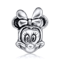 Wholesale Cute Minnie Charm Sterling Silver European Floating Charms Beads Fit DIY Snake Chain Bracelets Fashion DIY Jewelry