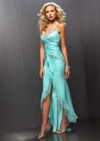 beaded tank dress - High Low Slim Cocktail Dresses With Spaghetti Straps Long Short Beaded Chiffon NIght Out Gowns Coctail Dress