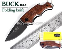 Wholesale New BUCK folding hunting knife Steel Natural wenge handle outdoor survival tatico tactical knives faca militar