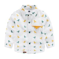 baby red bird - Export brand baby boy birds print shirts Linen cotton kids clothing boys clothes shirts gentle childrens fashion British western style