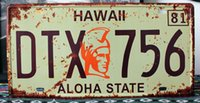 aloha art - SP CP Car License Plates number quot DTX ALOHA STATE quot Retro Vintage Metal tin signs Wall art craft painting x30cm
