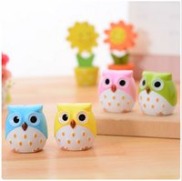 Wholesale 10 New Creative cute Owl Shaped Double Holes Pencil Sharpener School Supplies Necessary Desk Accessories