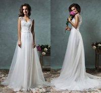 Cheap Amelia Sposa 2016 Beach Wedding Dresses V Neck Appliques A Linew Sweep Train Elegant White Spring Dress For Bridal Gown Cheap Custom 2015