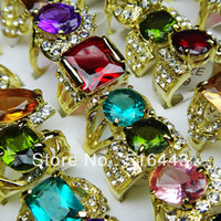 Wholesale Gorgeous Jewelry Mix Style Cubic Zircon Rhinestones Gold Plated Women Rings A