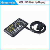 Wholesale 5 Inch W02 Car HUD Projector Head Up Display OBD II HUD Car Comprehensive Display car alarm system car detector OBD DHL free