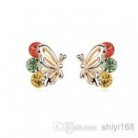 Women's feather butterflies - Jewelry Earrings New Fashion Earring Stud Crystal Jewelry Allergy Feather Butterfly Environmental health Boucles d ore