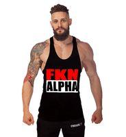 alpha tank - New Golds Gym Print ALPHA gym clothing Cotton Vest Bodybuilding Fitness Singlet Gymshark Sport Gorilla Wear Tank Top Men Shirt