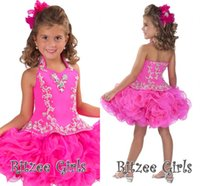 Wholesale Pretty Girls Cupcakes Pageant Dresses Ritzee Fashion Halter Neckline Corset With Beaded Ball Gowns Ruffled Short Party Gowns AH
