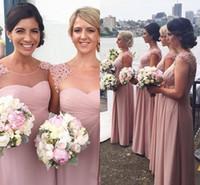 adorn purple - 2016 New Eleagnt Sheer Cap Sleeveless A Line Bridesmaids Dresses Pink Pleated Flowers Adorned Custom Made Garden Wedding Party Dresses Wear