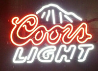 Wholesale Coors Light Mountains Real Glass Neon Sign Beer Bar