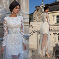 Wholesale Vintage Beach Wedding Dresses With Long Sleeves Illusion See Through Skirt Crystal Sash Sheath White Short Lace Wedding Dresses LA