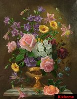Wholesale Retail Albert Williams The Yellow Dress Still life of flowers in a copper vase oil painting hand florals oil paintings on canvas