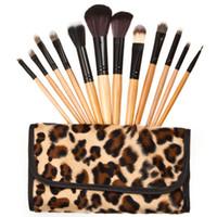 Wholesale Leopard Grain Professional Makeup Brushes Tools Set Cosmetic Brush Set Kit Bag Kits M295