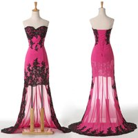 sexy ball gowns - Grace Karin Stock Strapless High Low Deep Pink and White Prom Dress Lace Sheath Ball Gown Evening Party Dress Size US CL6044