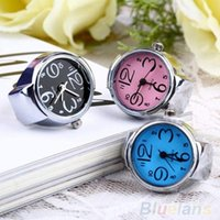 Wholesale Creative Women Fashion Lady Girl Steel Round Elastic Quartz Finger Ring with watch Watch NHE