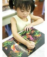 Wholesale 10Sheets K Scratch Colorful Art Paper Painting Paper with Free Drawing Stick