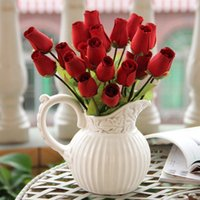 Wholesale Household decoration simulation flower Wood roses White and red two colors wedding festival gifts cm in fake flowers dried flowers