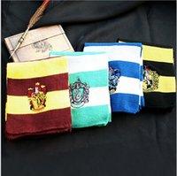 Wholesale 4 color Harry Potter Scarves School Unisex Striped Gryffindor Scarf Harry Potter School Scarf with badges LJJA2054