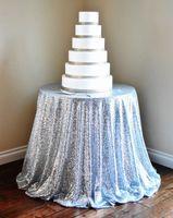 Wholesale 120 cm SILVER SEQUIN TABLECLOTH Select Your Size Silver Wedding Tablecloth Silver Glitter Tablecloth Silver Sparkly Tablecloth
