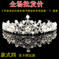 crowns - 2016 new bride tiara crown pearl wedding jewelry hair combs diamond wedding dress wedding accessories crown package mail