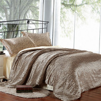 leopard print bedding - 2015 High Quality Colcha de Cama Silk Bedsheet Duvet Covers Leopard Silk Beddings Imitation Silk Luxury Bedding Set