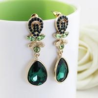 bijoux - Bijoux fashion gold filled alloy colorful cute water drop rhinestone imitation crystal dangle earrings for women