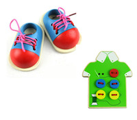 Wholesale 3Pcs Set Baby Toys Early Learning Wooden Toys Lace Up Shoes Wear The Button Montessori Blocks Beads Child Birthday Gift