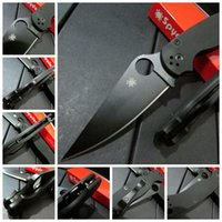 Wholesale Spyderco C81 GPCMO2 Paramilitary Knife Spyderco C81 knife G handle black blade Top quality Real photo A