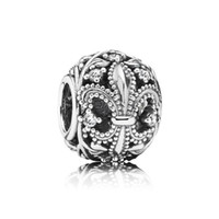 fleur de lis - 2015 Special Offer Promotion Slides Sliders Silver Fleur De Lis Openwork Charm Flower Beads Solid Charms Fit Bradflet Loose Df359