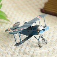Wholesale Pendant Airplane Model Toy Kids Room Decoration Vintage Metal Plane Model Iron Retro Aircraft Glider Biplane Aeromodelo