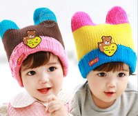 Wholesale hot sale retail christmas hat animal dog shaped knitted baby caps boy girl winter hat for child to keep warm colors for choose for y