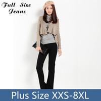 Al por mayor-Timbre adicional inferior Denim Jeans tamaño extra grande de largo pantalones de las mujeres flacas para las señoras microt Boot Cut Pantalones 24 26 XXXXL 4xl XXL XXXL
