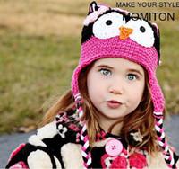 Wholesale 20pcs Toddler Owl Ear Flap Crochet Hat Children Handmade Crochet OWL Beanie Hat Handmade OWL Beanie Kids Hand Knitted Hat