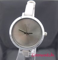 al por mayor ver chicas venta barata-Los relojes analogicos del cuarzo de las señoras del reloj ocasional de acero del reloj de la correa de cuero fina de la correa de los relojes ocasionales baratos de la venta