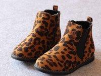 Wholesale Winter Korean Leopard Children Girls Dunk Low Ankle Boots New Arrival Baby Fashion Plus Velvet Martin Boots Girls Kids Shoes L0758