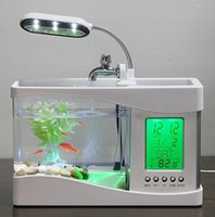 al por mayor pecera usb-1 juego Mini USB LCD Negro Fish Tank Aquarium Clock Timer Calendario LED mini luz del USB LCD Temporizador de escritorio del reloj del calendario de la lámpara LED