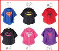 Wholesale Kids Superman Winter Coats - 2015 New Fashion baby superman batman spiderman superhero kids Rain Coat Raincoats waterproof children Raincoat 6colours choose Freely