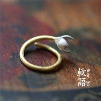 art essays - Genuine soft words flower jade ESSAYS ART Silver magnolia flower adjustable ring