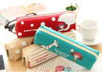 Wholesale 500pcs Cute Portable Pen Bag Pencil bag Cartoon Canvas Pencil Case Storage Bag Portable Pencil Pen Case Stationery Pen pencil pouch
