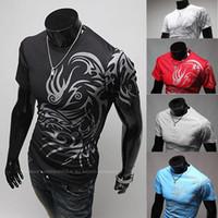 al por mayor ropa tatuado-Brand Autumn O Neck Tees Ropa de Hombre Tops Deportivos, Dragon Totem Tattoo Camiseta de manga larga para hombres Camiseta de algodón M-XXL, roupas masculinas