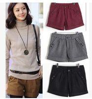 Women basic buttons - multi colors plus size wool blend women shorts winter autmn regular basic size S to XL